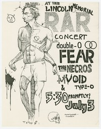 Rock Against Reagan (RAR) concert with Double-O, Fear, Necros, Void and Type-O flier, Lincoln Memorial, Washington, D.C., July 3, 1982
