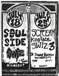 Swiz concert flier - d.c. Space/Johns Hopkins University, Washington, D.C./Baltimore - June 18 and 25, 1987