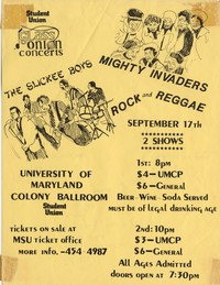 The Slickee Boys – College Park, MD – University of Maryland, Stamp Student Union Colony Ballroom, September 17, 1982