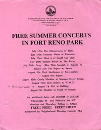 Flier advertising the Fort Reno concert series, Washington, D.C., Summer 1993