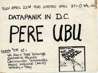 Pere Ubu – Washington, D.C. – Gaston Hall , April 22, 1979