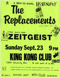 The Replacements - College Park, MD – King Kong Club , September 23, 1984