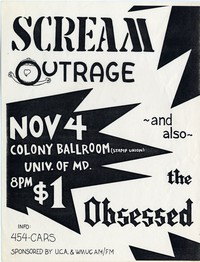 Scream – College Park, MD – University of Maryland, Stamp Student Union Colony Ballroom (Design 1), November 4, 1983