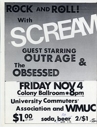 Scream – College Park, MD – University of Maryland, Stamp Student Union Colony Ballroom (Design 2), November 4, 1983