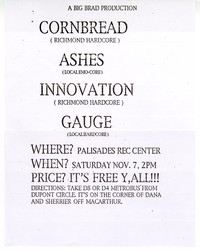 Cornbread concert flier, Palisades Rec Center, Washington, D.C. - November 7, 1992