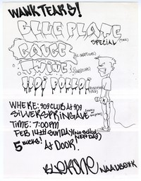 Blue Plate Special concert flier, 909 Club, Silver Spring, Maryland, February 14, 1993