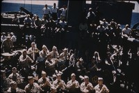 U.S. Army Field Band playing on a warship, undated