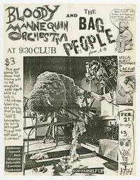 Bloody Mannequin Orchestra and Bag People concert flier, 9:30 Club, Washington, D.C., February 21, 1984