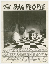 Bag People and Bloody Mannequin Orchestra concert flier, 9:30 Club, Washington, D.C., February 21, 1984