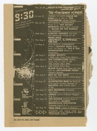 9:30 Club calendar with Bloody Mannequin Orchestra and Dickies concert, Washington, D.C., August 1984