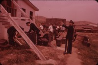 United States Army Field Band unloading musicial instruments, undated