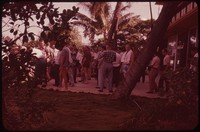 Crowd outside hotel, Hawaii, undated