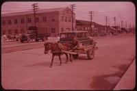 Car and horse-drawn cart, South Korea, undated