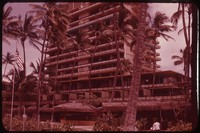 Hotel with palm trees, Hawaii, undated
