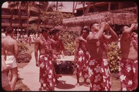 Musicians, pig roast procession, Hawaii, undated