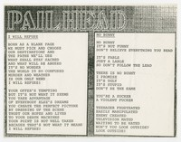 Pailhead lyric sheet, 1987