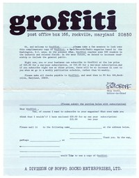 Groffiti fanzine subscription form, circa 1974