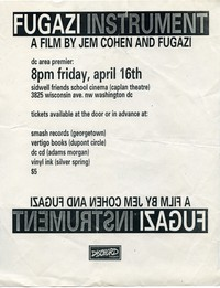 "Fugazi ""Instrument"" premiere flier – Sidwell Friends School Caplan Theatre, Washington, D.C., April 16, 1999"