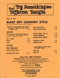 Blast Off Country Style, Tuscadero, and Air Miami concert flier, O'Carroll's, Arlington, Virginia, July 29, 1994