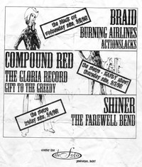 Braid, Compound Red, and Shiner concerts flier – Black Cat and Metro Café, Washington, D.C., September 2-4, 1998