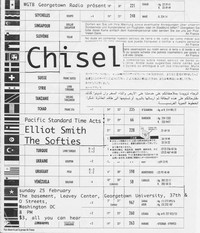 Chisel, Elliott Smith, and the Softies concert flier, Georgetown University, Washington, D.C. - February 25, 1996