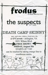 Frodus, The Suspects, and Death Camp Skinny concert flier – O'Carroll's, Arlington, Virginia, August 5, 1994
