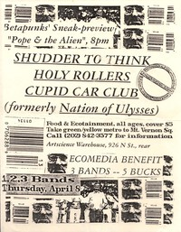 Shudder To Think, Holy Rollers, and Cupid Car Club concert flier – Artscience Warehouse, Washington, D.C., April 8, 1993