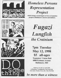 Fugazi, Lungfish, and the Crainium concert flier – Teamsters' Union Hall, Baltimore, Maryland, May 12, 1998