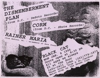 Dismemberment Plan, Corm, Rainer Maria concert flier – Black Cat, Washington, D.C., January 8, 1996