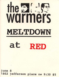 The Warmers and Meltdown concert flier – Red, Washington, D.C., June 6, 1996