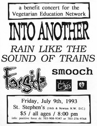 Into Another and Rain Like The Sound of Trains concert flier - St. Stephen's Church, Washington, D.C., July 9, 1993
