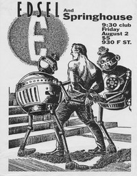 Edsel and Springhouse concert flier – 9:30 Club, Washington, D.C., August 2, 1991
