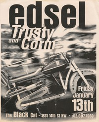 Edsel, Trusty, and Corm concert flier - Black Cat, Washington, D.C., January 13, 1995