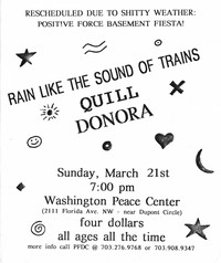 Rain Like The Sound of Trains, Quill, and Donora concert flier – Washington Peace Center, Washington, D.C., March 21, 1993