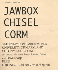 Jawbox, Chisel, and Corm concert flier – University of Maryland Colony Ballroom, College Park, Maryland, September 28, 1996