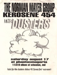 Norman Mayer Group, Kerosene 454, and The Dusters concert flier – Phantasmagoria, Wheaton, Maryland, August 17, 1996