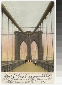 Promenade on the Brooklyn Bridge, New York, New York, 1907