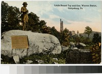 Little Round Top and General Warren statue, Gettysburg, Pennsylvania, 1907-1914