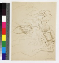 "Photographic reproduction of silverpoint showing hands reaching for orchids -- (6 1/4"" x 8 1/4"". Black and white)"