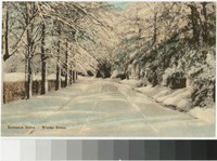 Entrance drive to Friendship Hill in winter, New Geneva, Pennsylvania, 1907-1914