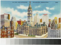 City Hall and skyscrapers, Philadelphia, Pennsylvania, 1938-1944