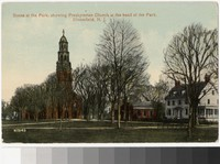 Scene at the park, showing Presbyterian church at the head of the park, Bloomfield, New Jersey, 1907-1914