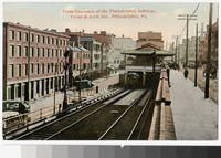 Train entrance of the Philadelphia subway, Front & Arch Streets, Philadelphia, Pennsylvania, 1907-1914