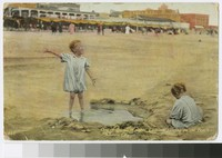 Children playing on the beach, Atlantic City, New Jersey, 1909