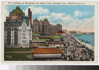 Looking up boardwalk and beach from Michigan Avenue, Atlantic City, New Jersey, 1915-1928