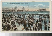 Afternoon bathing scene on the beach, Atlantic City, New Jersey, 1915-1924
