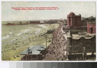 Panoramic view of southern end of boardwalk and beach, Young's Million Dollar Pier in distance, Atlantic City, New Jersey, 1909