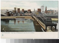 Downtown and Monongahela River from Pittsburgh & Lake Erie Railroad Station, Pittsburgh, Pennsylvania, 1907-1914
