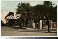 College Avenue and entrance to Rutgers College, New Brunswick, New Jersey, 1907-1909