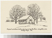 Artist's depiction of the original schoolhouse at Valley Forge, Pennsylvania, 1949